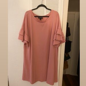 Pink Ruffle Sleeve Cotton Dress